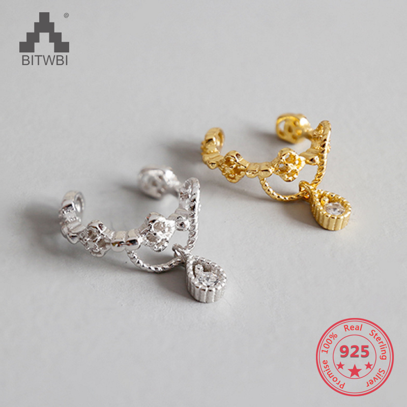 100% S925 Sterling Silber Frauen Geschenk Schmuck Strass Ohr Manschette Klar Kristall Blume Ohrringe