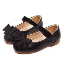 Autumn New Gold Black Kids Shoes bow-knot Princess For Wedding party Bling Girls Dancing student 3-15T