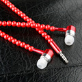 Luxury Red Bling Diamond earphone Pearl Necklace Chain in-Ear Earphone Stereo With Mic For iphone 6 6s samsung Microphone