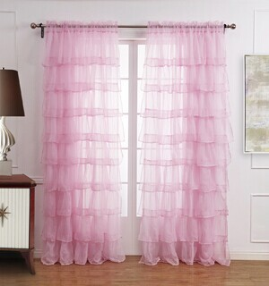 Pink White Princess Voile Curtains Tulle Maiden Ruffle