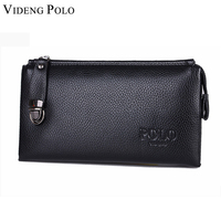 VIDENG POLO Free Shipping Business Leather Men Clutch Bags Vintage Mens Leather Purse Wallet Metal Zipper