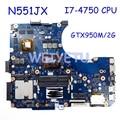N551JX/N551JK Motherboard i7-4750CPU GTX950M/2G For ASUS G551JX N551JX G551J N551J Laptop Motherboard N551JK Mainboard test 100%
