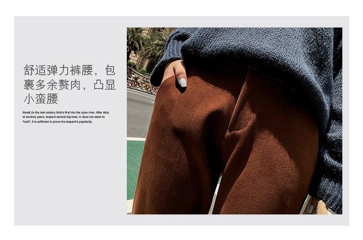 19 Autumn New Women Elastic Woolen Pant Female Plus Size Casual Trousers Black/Gray Harem Pants Winter Wool Ankle-Length Pants 15