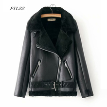 FTLZZ Для женщин зима теплая искусственная кожа ягненка куртка Искусственная кожа овечья шерсть меховой воротник мотоциклетные Черная курточка бомбер пальто