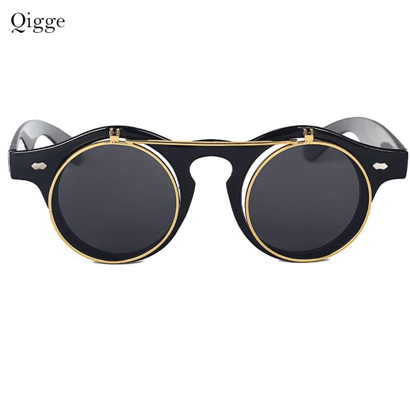 Qigge Moda Vintage Dəyirmi Retro Buxarlı Pəncək Eynəklər - Geyim aksesuarları - Fotoqrafiya 3