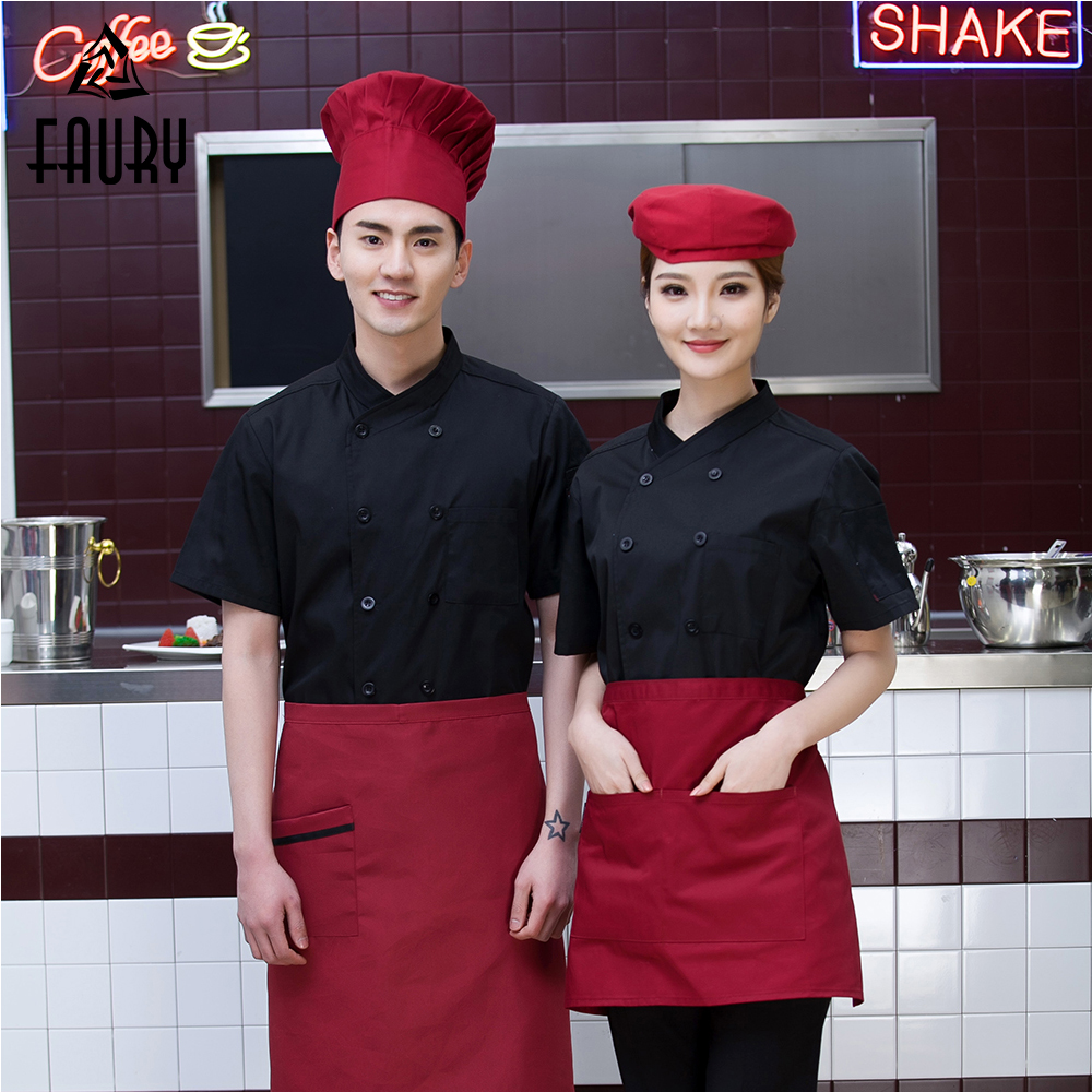 New Chef Jackets Solid Oblique Collar Double Breasted Restaurant Kitchen Cooking Workwear Bakery Catering Coffee Bar Uniform
