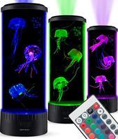 Boaz Jellyfish Lamp Tank Mood Light Aquarium Color Changing Remote Ocean Wave Projector Jellyfish Children Table Light Lava Lamp