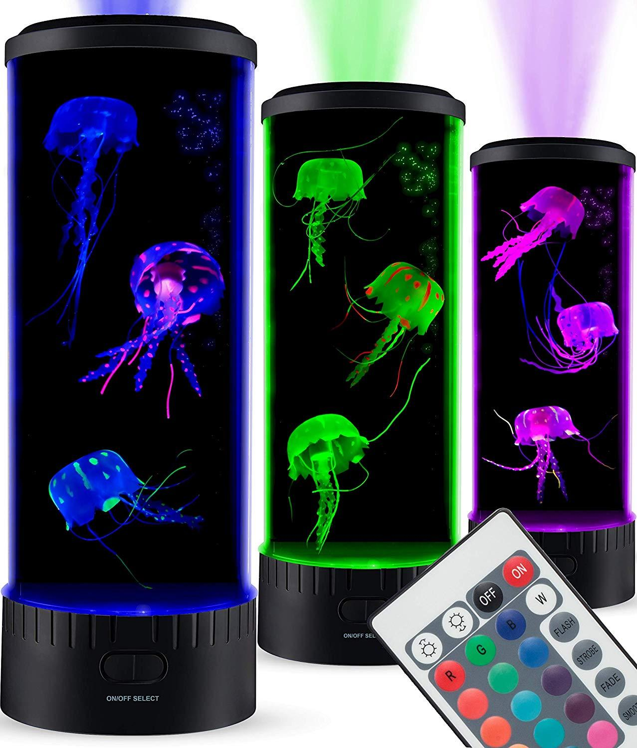 BoazSmart Large LED Jellyfish Lamp Aquarium Electric Round Jellyfish Tank Mood Light Color Changing Remote Ocean Wave Projector