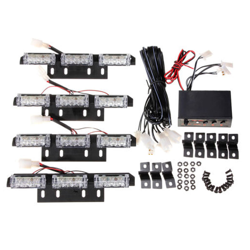 12V 36 LED Amber Flashing Emergency Recovery Vehicle Strobe Grille / Deck Lights
