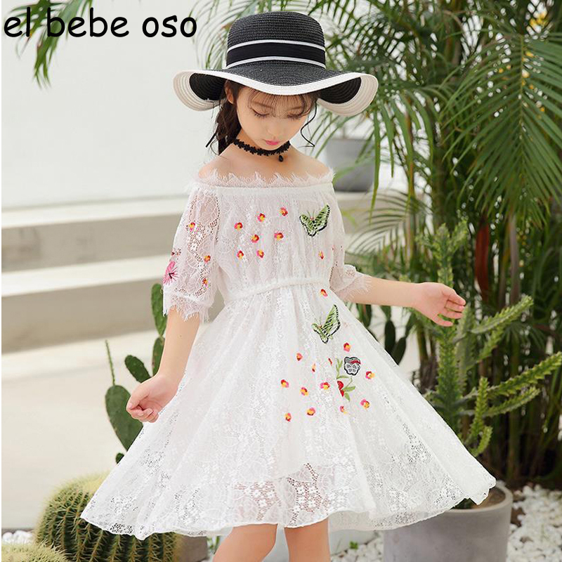 Girl Summer Lace Princess Dresses for Girls Clothes Short Sleeve Floral Printed Holiday Baby Kids Girls Clothing Dresses XL295