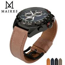 MAIKES Watch Accessories Genuine Leather Strap 24mm 22mm Band Wrist Stainless Steel Buckle Watchband For Omega