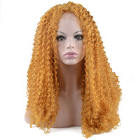 StrongBeauty Lace Front Wig  Long Kinky Curly Hair Orange Yellow Heat Resistant Fiber Women's Natural Full wigs