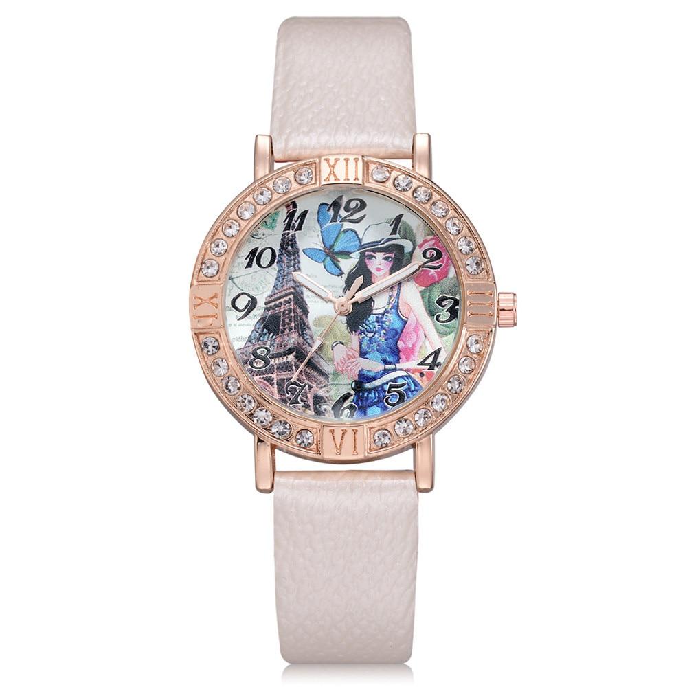 New Brand Retro Leather Women Watches Fashion Denim Cartoon Girl Quartz Watch Ladies Monkey Dial Wrist Watch Relogio Feminino Quartz Watches