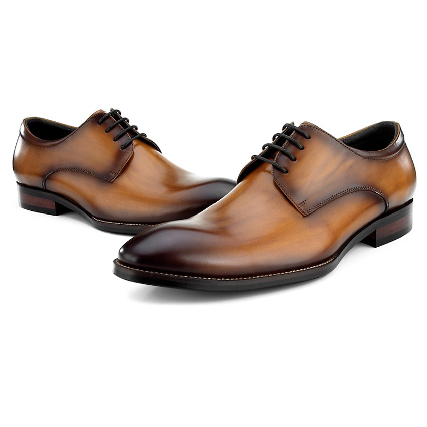High Quality Genuine Leather Mens Footwear Round Toe Lace-up Man Wedding Party Flats Luxury Formal Dress Male Derby Shoes BQL45