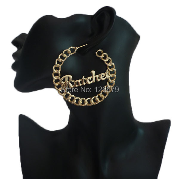 2018 New Trendy Hip Hop Spring Summer Big Gold Simple Alloy Chain Ratchet Love Sexy Hoop Basketball Wives Earrings