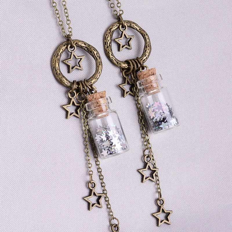 5fc200346 Glitter Stars Tiny Wishes Bottle Necklace Vintage Cute Glass Miniature  Bottle Charm Necklace Elegant Women Gift