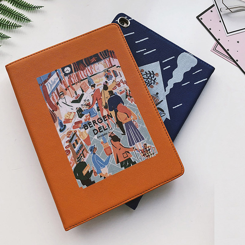 Case For New iPad 2017 2018 hard back Flip smart stand cover pu leather illustration Cute Cartoon Case For ipad Air 1 Air 2 in Tablets e Books Case from Computer Office