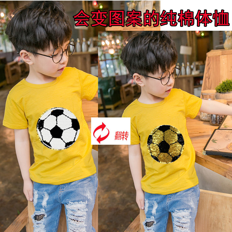 6 color Summer soccer magic switchable sequin boys tee shirt kid new fashion yellow t shirt children tops clothes 3-10T