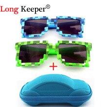 YBZ Vintage Square Novelty Mosaic Sun Glasses Unisex Pixel Sunglasses Trendy Minecraft Glasses With Case Children Gift