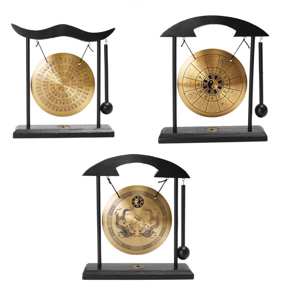 Feng Shui Brass Gong Round Drum Shape Desktop Zen Art Zodiac Signs ...