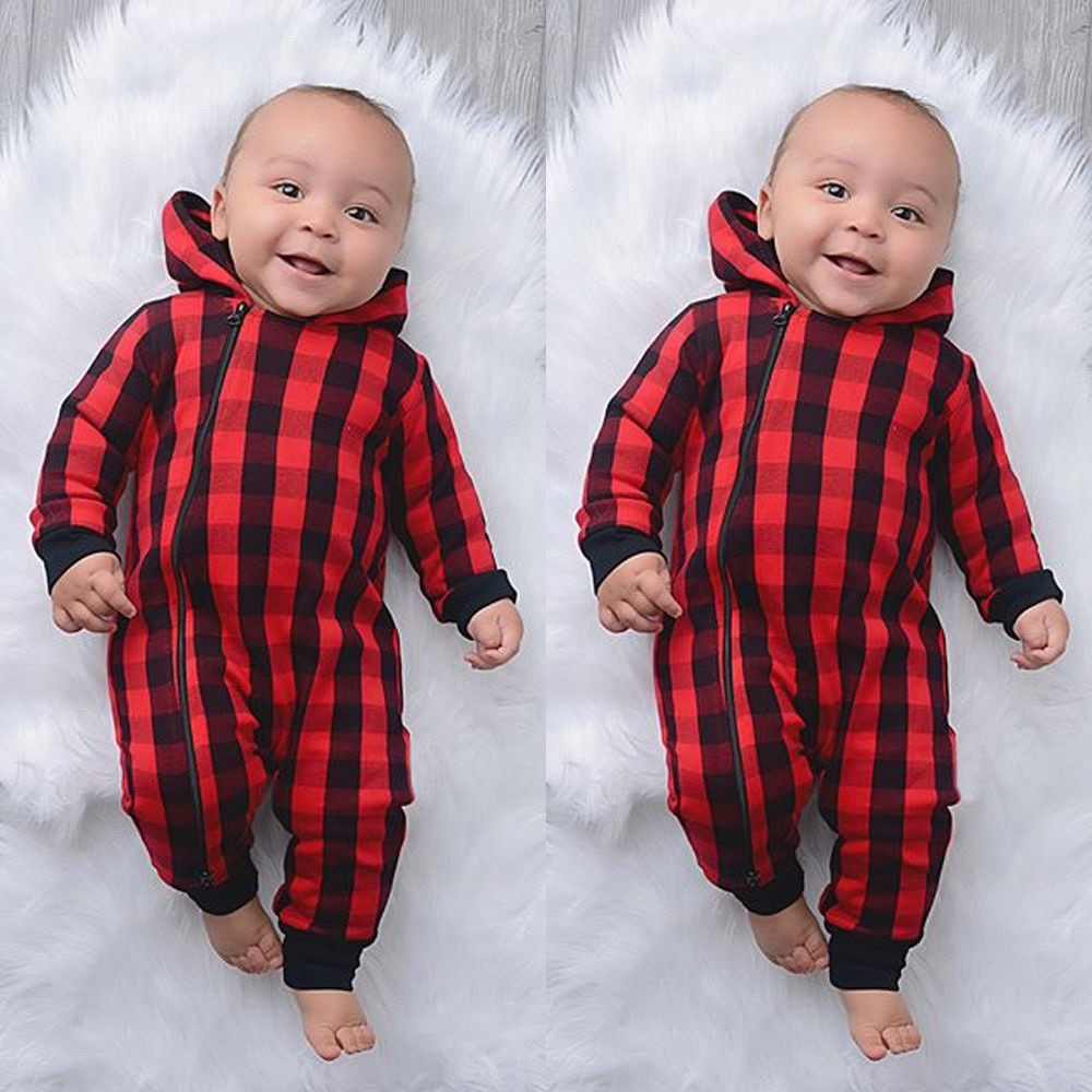 Newborn Infant Baby Girls Boys Christmas Plaid Hooded Jumpsuit Romper Clothes Casual wear Wholesale&Dropshipping#30