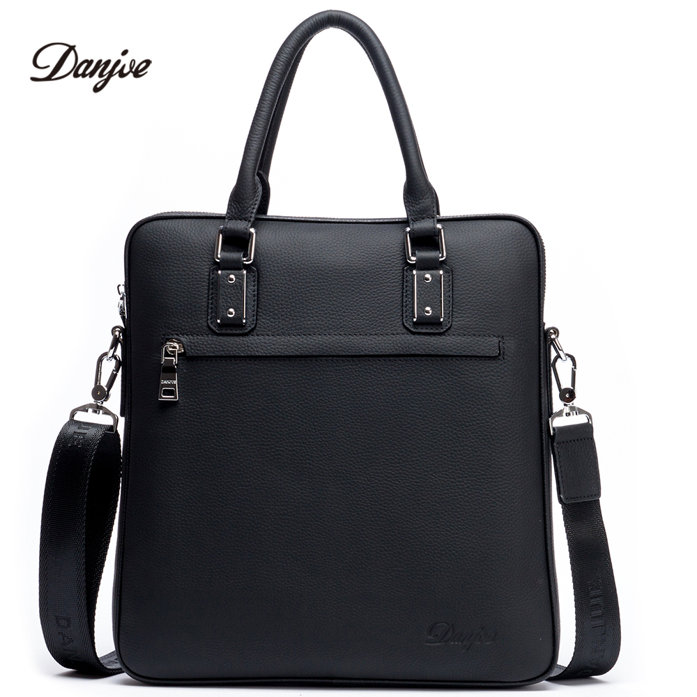 DANJUE New Men Bag Genuine Leather Handbag Male Business Messenger Bag High Quality Leather Male Shoulder Bag Vertical Daily Bag