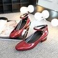 Novo 2017 mulher sapatos de salto médio grosso heel Mary Jane mulheres sapatos de salto alto sapatas das senhoras saltos tira no tornozelo preto tamanho grande 34-46