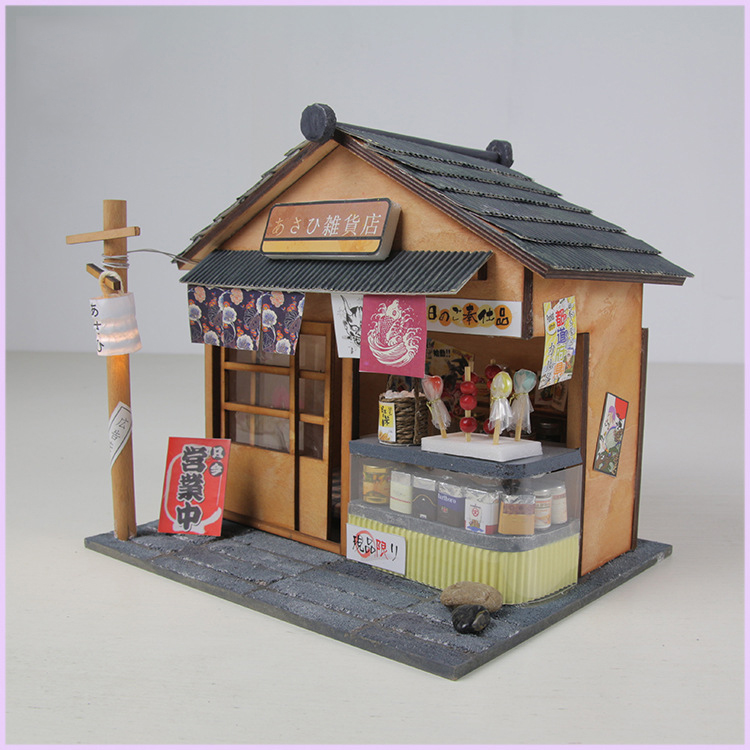 DIY Building Dollhouse Puzzle <font><b>Toy</b></font> for Children Miniature Assembly Model Doll House with Furnitures LED LIGHT <font><b>Grocery</b></font> <font><b>Store</b></font> image