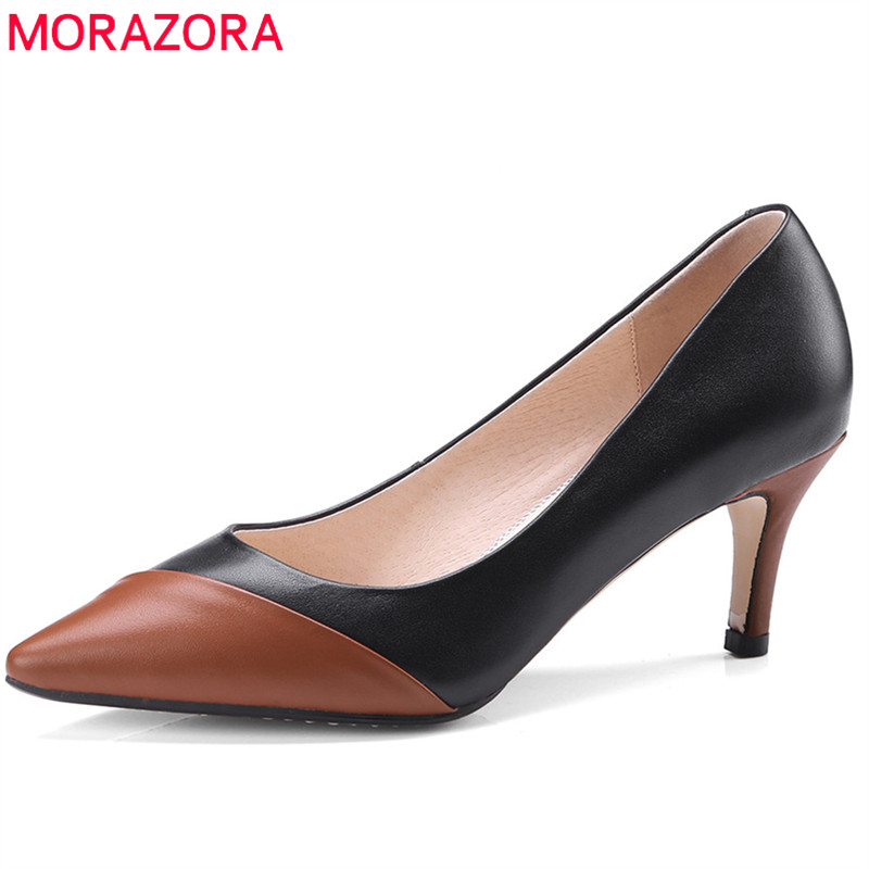 MORAZORA 2018 hot sale pumps women shoes pointed toe summer shoes genuine leather party wedding shoes sexy high heel shoes woman hot sale pointed toe buckle charm fashion wedding shoes genuine leather sexy red pumps women pumps high quality high heels shoes