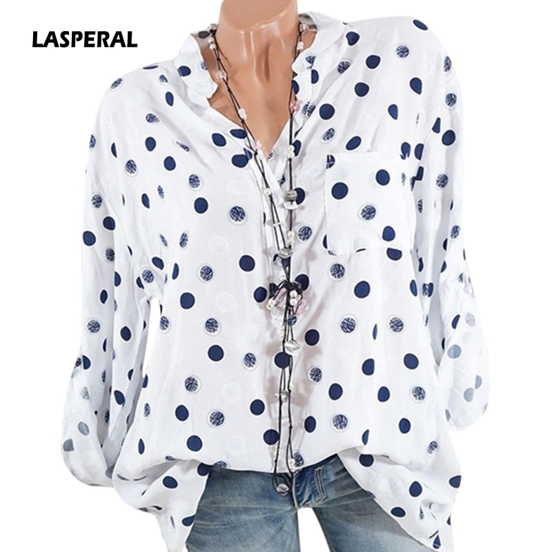 LASPERAL New Women Fashion Long Sleeve V-neck Polka Dots Print Tunic Top   Blouse     Shirt   Casual Vintage Button Blusas Plus Size