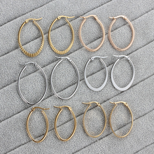 Silver/Gold Korean Earrings 2019 For Women Cute Stainless Steel Hoop Fashion Oval modern Jewelry Wholesale Party Gift