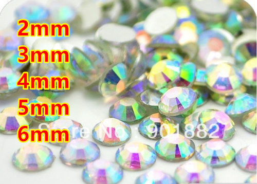 Crystal AB Resin Flatback beads for Nail Art/Garment/Decoration (2mm 3mm 4mm 5mm 6mm) 10000~100000pcs/bag