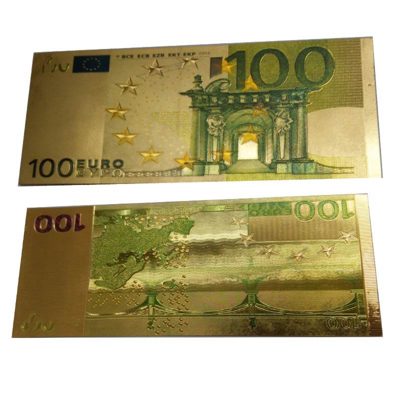 24k gold foil banknote 100 euros double sided color printing bill money gifts bronzing eu. Black Bedroom Furniture Sets. Home Design Ideas