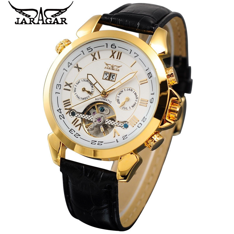 JARAGAR Luxury Watch for Men Day/Week/Month Tourbillon Mechanical Automatic Wristwatch Free Shipping 2016 luxury relogio masculino day week month tourbillon auto mechanical watch wristwatch valentine s day gifts box free ship