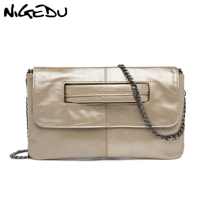 f5ff82950f55 NIGEDU Genuine Leather Women Clutches luxury design Chain Messenger Bag for  female Crossbody Bag Fashion ladies Envelope clutch