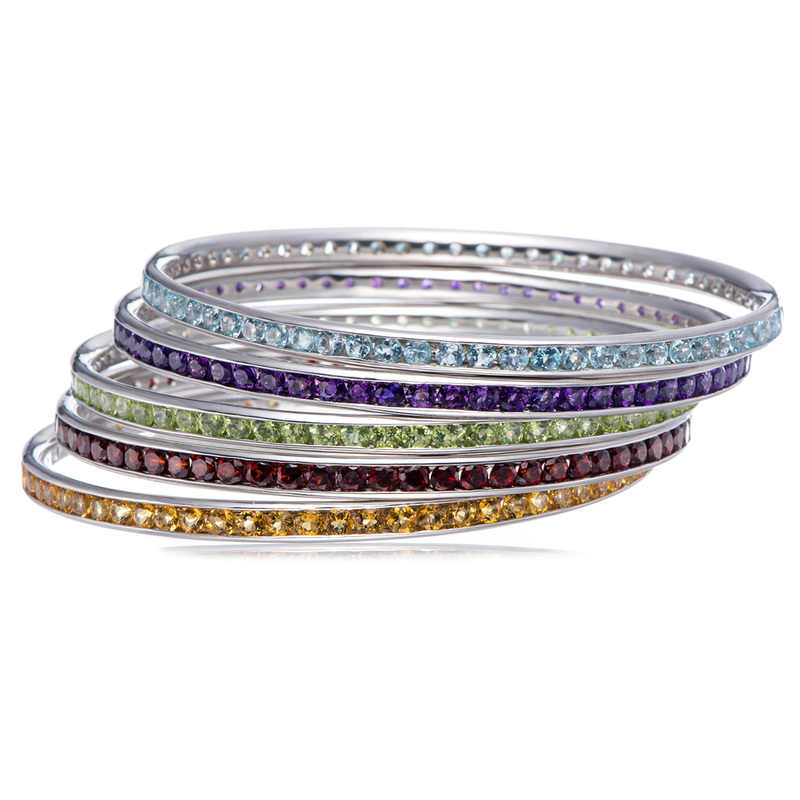6 สีแหวน Rhinestone ออสเตรียคริสตัลคริสตัล Cz 925 เงินงานแต่งงานแหวนสำหรับเครื่องประดับสตรี