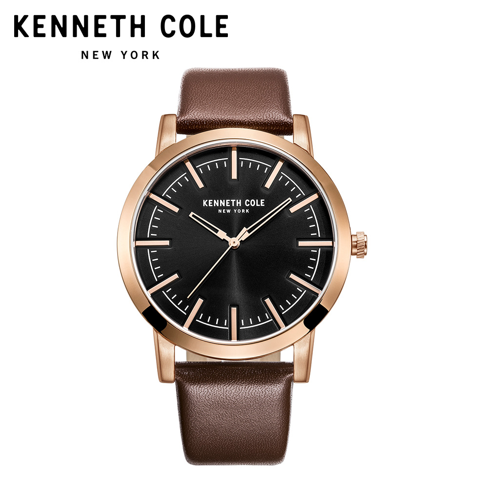Kenneth Cole Watches For Men Black Leather Buckle Quartz Waterproof Gold Brown Simple Business Luxury Brand Watches KC10030808 цена и фото