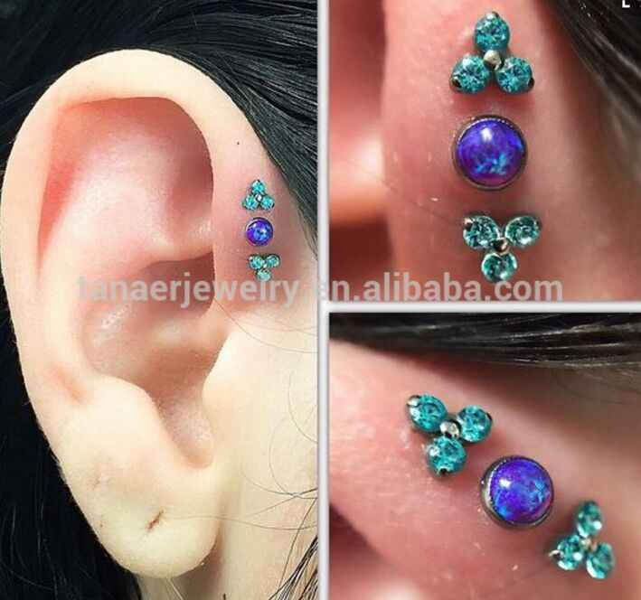 Hot sale!!! 16G stainless steel opal body piercing jewelry tragus/daith cartilage ear piercing helix piercing