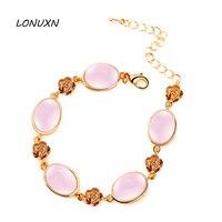17 + 5 cm di Alta qualità femminile gioielli pietre semi-preziose Naturali rosa Cristallo Di Calcedonio rosa opale braccialetto regalo carino fidanzata