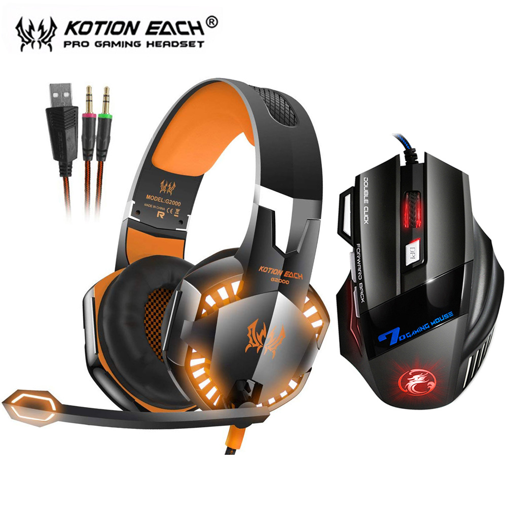 KOTION EACH G2000 Stereo Gaming Headset Deep Bass Headphone with Mic LED Light for PS4 PC+Optical USB Gaming Mouse Game Mice DPI kotion each series gaming headset g2000 g2100 g2200 g4000 g9000 deep bass stereo headphones with mic 2 2m wired earphone for pc