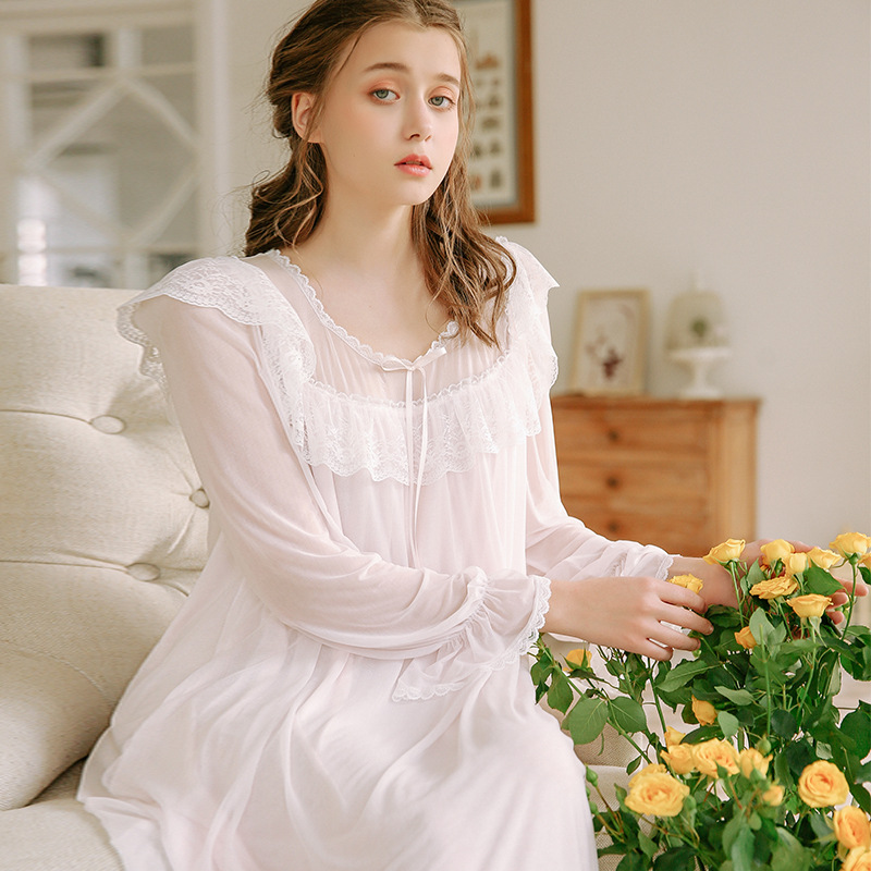 Lace Mesh   Nightgowns     Sleepshirts   Home Dress Sexy Nightwear Women Sleepwear Sweet Sleep Lounge Vintage   Nightgown   Female 2019 New