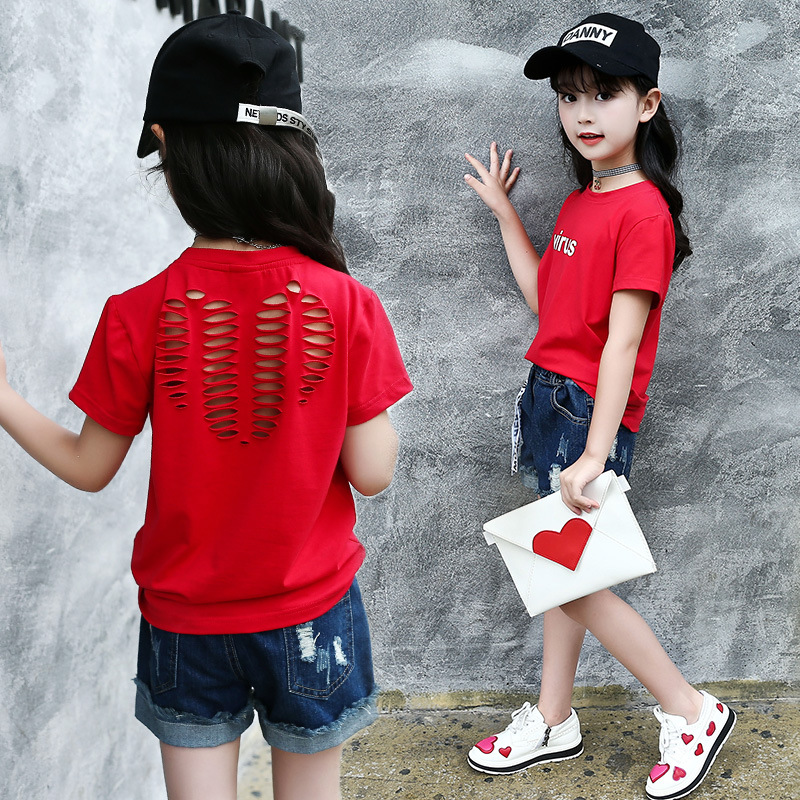 Toddler Children T-shirts Clothing Cotton Girls T-shirts Hollow Out Kids T-shirts For Girls Clothes T shirts Tops 6 8 10 12 14 Y