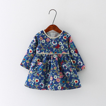 New Autumn Baby Girl Dress Cotton Infant Floral Print European Style Vintage Long Sleeve Toddler Dresses Birthday Baby Clothes Платье