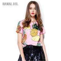 New 2017 Summer Runway Women Pineapple Printed T Shirts Short Sleeve Pineapple Sequined Lady Blusa Print