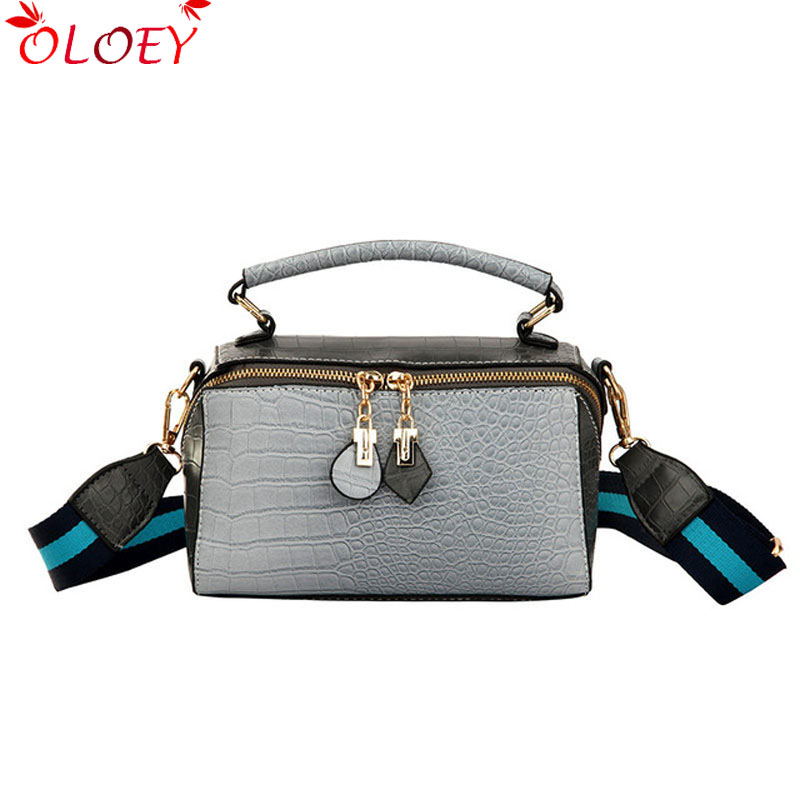 Fashion wild quality Female Square Bag 2019 New Quality PU Leather Women Bag Crocodile Pattern Tote Bag Shoulder Messenger BagsFashion wild quality Female Square Bag 2019 New Quality PU Leather Women Bag Crocodile Pattern Tote Bag Shoulder Messenger Bags