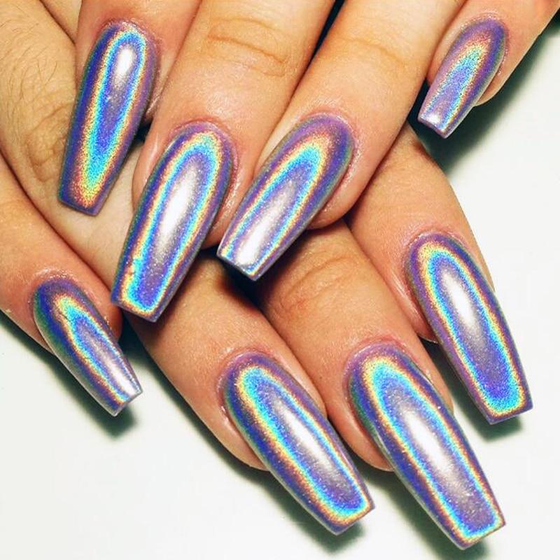 1g/Box Holographic Laser Nail Glitters Holo Rainbow Unicorn Nail Art Powder Nail Tip Chrome Dust Manicure Nail Art Decorations
