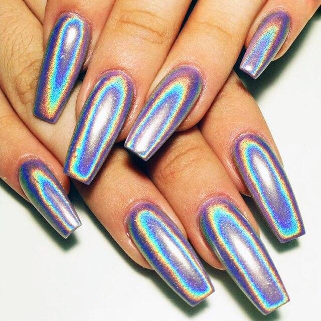 Unicorn Tipped Nail Art: 1g/Box Holographic Laser Nail Glitters Holo Rainbow
