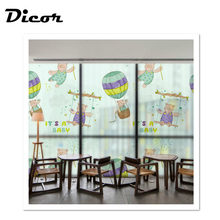 DICOR Korean Style Bear Window Decorative Films Cartoon For Kids Rooms Frosted Privacy Glass Stickers BLT372