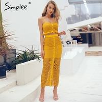 Simplee Hollow out bodycon midi women summer dress Embroidery two piece co ord button female sundress Elegant holiday vestidos