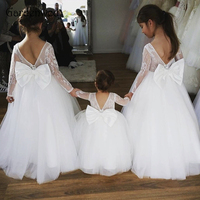 Gardenwed Boho Lace Flower Girl Dresses 2019 Long Sleeves Ball Gown Tulle Kids Size 14 Back Bow Knot Puffy Dresses for Kids